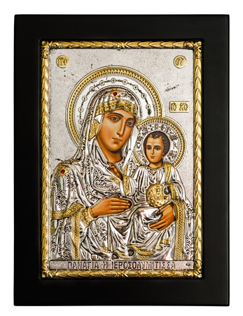 vestal: Silver and gold icon of Virgin Mary and Infant Jesus Christ. Isolated on white background. I am the owner of this icon.