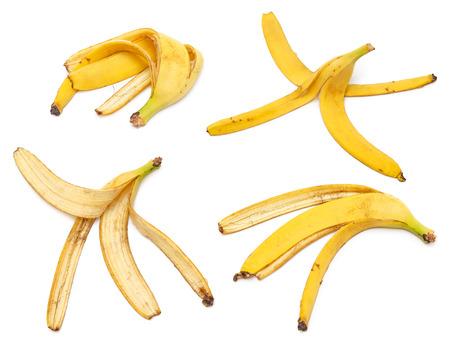 Set of banana peels isolated on white  photo