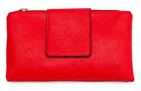 comtemporary: Red leather female bag isolated on white background
