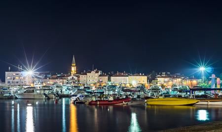 Old town Budva at night  Coastline and marina  photo