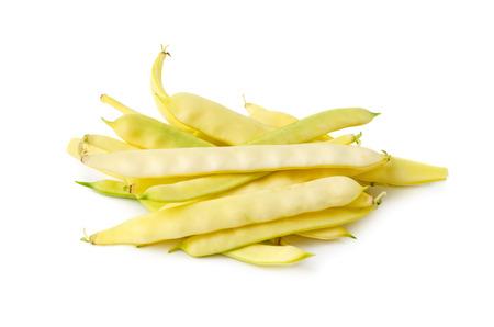 白い背景に分離された新鮮な黄色のワックス豆 写真素材