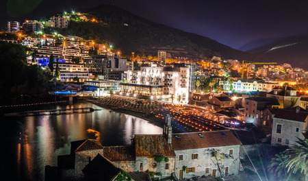 Old town of Budva at night. View from citadel photo