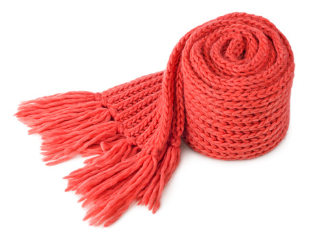 neckcloth: Rolled red textile scarf isolated on white background Stock Photo