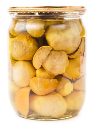 cepe: Glass jar with pickled cepe mushrooms isolated on white background Stock Photo