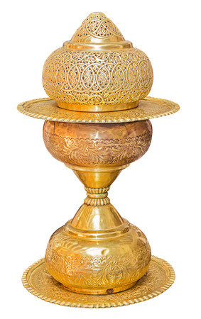 antique vase: Old antique vintage bronze, brass vase, isolated on white background. File contains a clipping path.