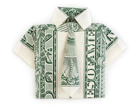 ドル折り紙シャツとネクタイは、白い背景で隔離。Moneygami。 写真素材