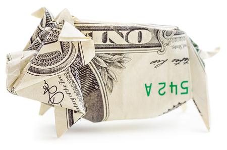 ドル折り紙豚は、白い背景で隔離。Moneygami。貯金箱。