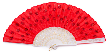 a86367299f227 Red spanish fan isolated on white background