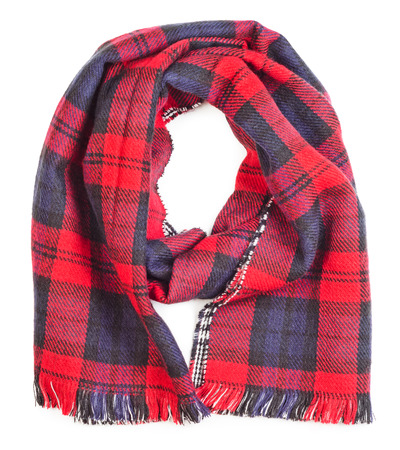 neckwear: Wool red tartan plaid scarf isolated on white background