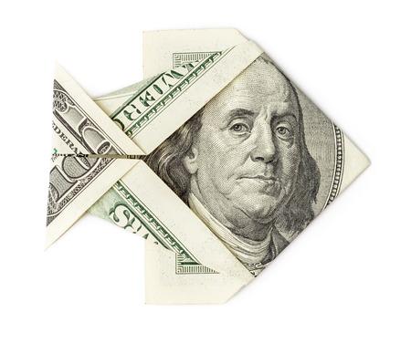 busines: Hundred dollars origami fish isolated on white background. Moneygami. Big catch.
