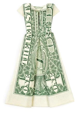 Dollar Origami Dress Isolated On White Background Stock Photo