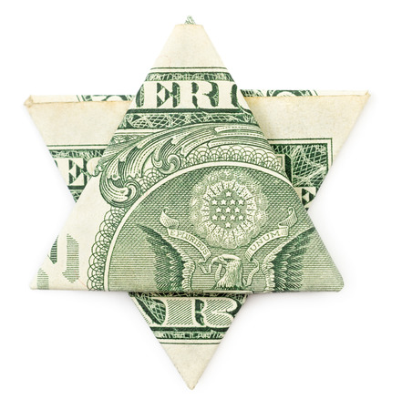 Dollar Origami Star Of David Isolated On White Background Stock