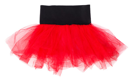 Red childrens tulle skirt isolated on white background Stock Photo
