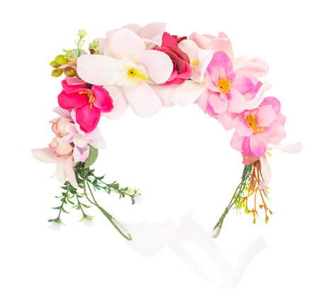 Flower wreath isolated on white background Stock Photo