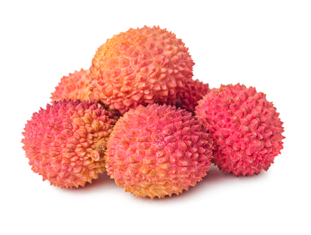Pile of lychees fruits isolated on white background Stock Photo