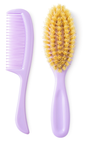 2cd93c03a4045 Newborn brush and comb isolated on white background. Kiddie-size hair  brushes. Stock