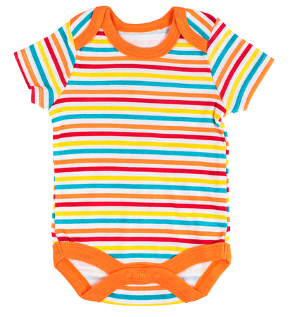 Striped multicolored baby body suit isolated on white background
