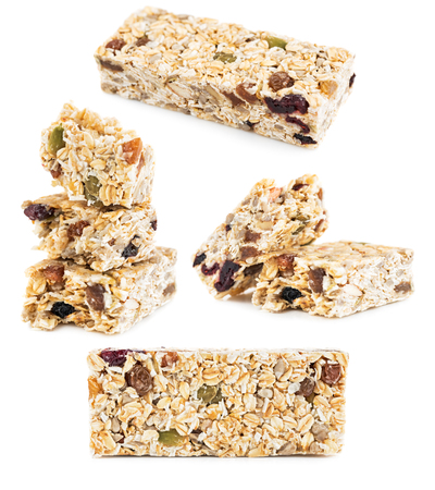 Oat Granola cereal bars isolated on white background 写真素材