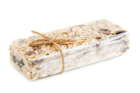 Oat Granola cereal bar isolated on white background