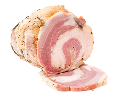 Cured, smoked bacon, lard isolated on white background. Raw rolled bacon.