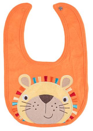 Orange baby bib with lion isolated on a white background