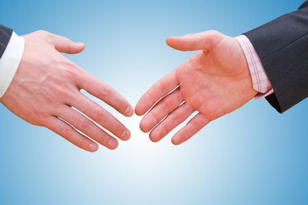 Businessman teamwork partners shaking hands with suit Stock Photo - 4776242