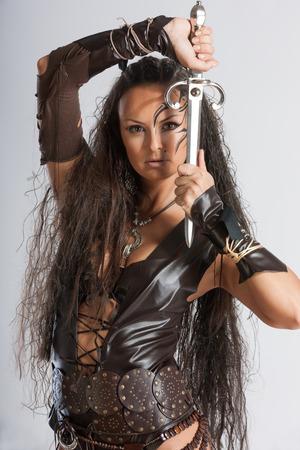 ギリシャ神話のアマゾンは女戦士のレースでした。ヘロドトスは、Sarmatia 現代ウクライナの領土のスキタイと国境を接する地域にそれらを置いた。 写真素材