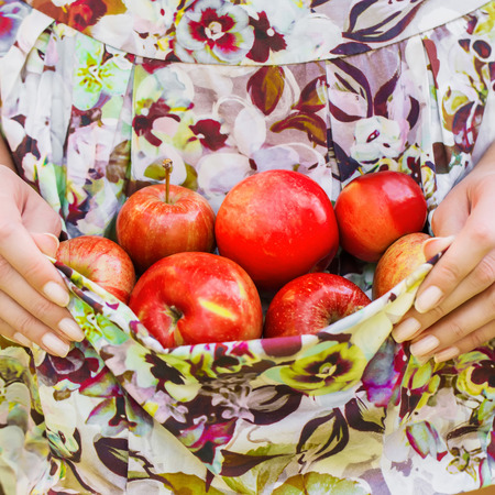 aprons: Woman holding  aprons apples