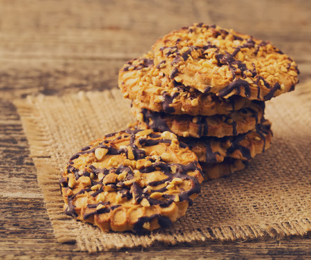 backgroung: cookies on wood backgroung Stock Photo