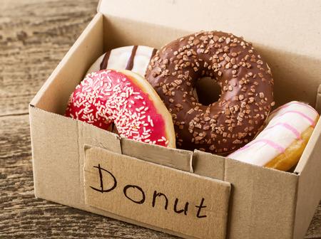 donuts: Box full of donuts ready to eat Stock Photo