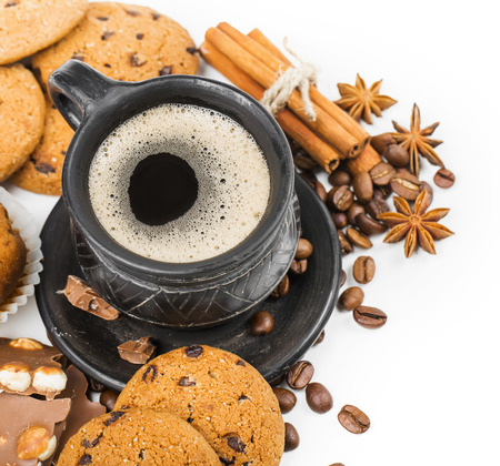 coffee and cookies on white background photo