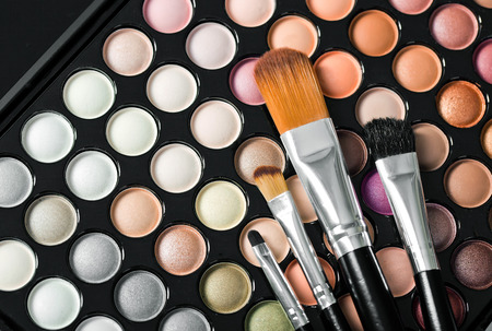 woman close up: shadow kit with brush for make-up