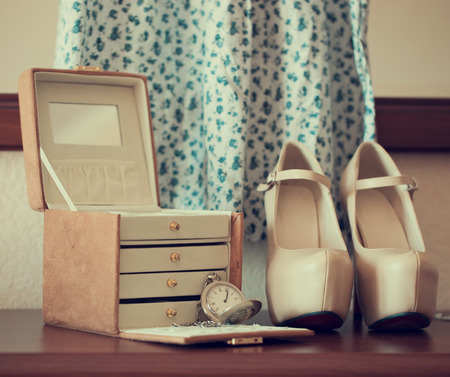 jewelry box: Shoes, dress and vintage style jewelry box