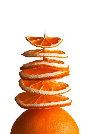 decorative tree from orange slices isolated on white background photo