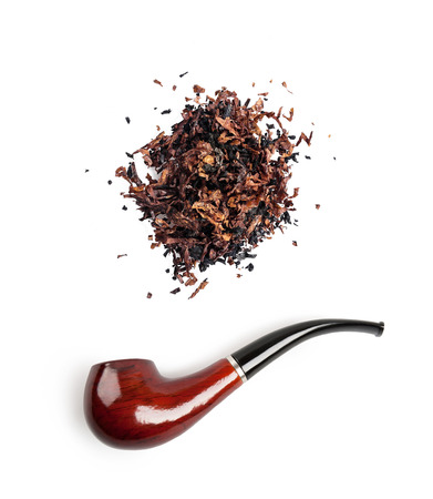tobacco and pipe isolated on white background photo