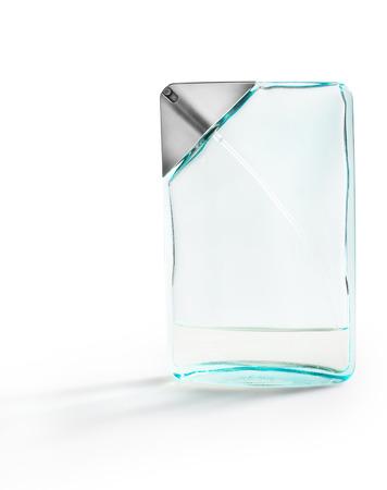 soft blue perfume bottle isolated on white background photo