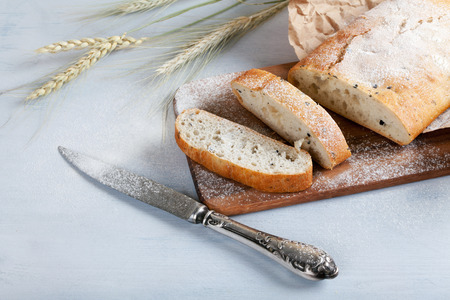 browned: sliced fresh white bread with spices and browned crust