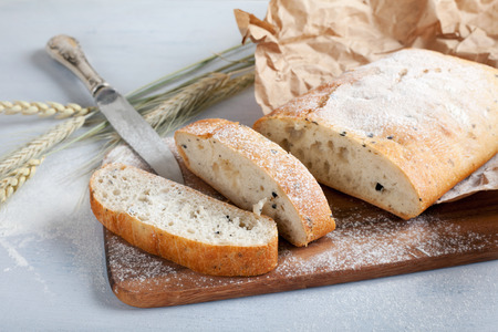 browned: sliced fresh white bread with spices and browned crust, soft focus
