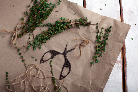 sprigs: sprigs of thyme dismantled on brown paper Stock Photo