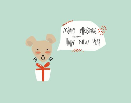 Greeting card in a minimalist style. Happy new year white metal rat. Vecteurs