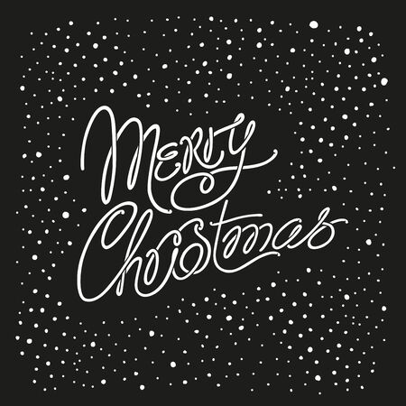 Merry Christmas - a cute inscription with curls. Decorative hand-drawn dots pattern. Christmas card, congratulation.