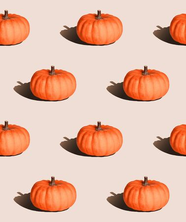 pastel seamless background, pumpkin with hard light in pop art style Stock Photo - 133668894
