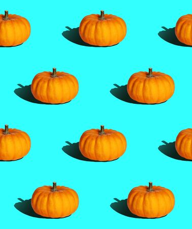 bright seamless background, pumpkin with hard light in pop art style