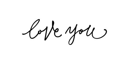 phrase love you hand written, element for your design banner, t-shirt, print, card.