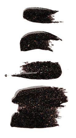set of wide and narrow brush strokes, black glitter nail polish, isolated element for design.