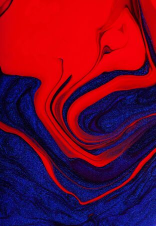 Beautiful vertical abstract bright red-blue background with streaks and stains. Copy space