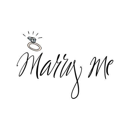 Marry me - modern brush calligraphy for card, poster. Ink illustration on white background Vetores