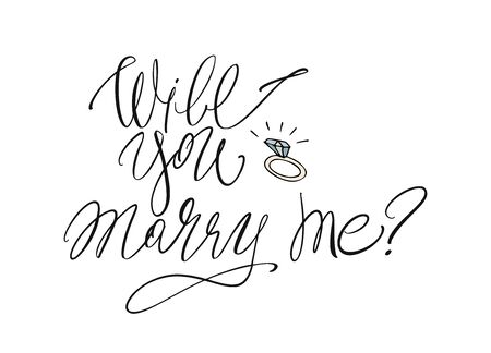Will you marry me - modern brush calligraphy. Ink illustration on white background Banque d'images - 138555208