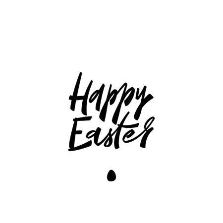 Happy Easter - minimalistic modern handwritten inscription. Design element for card, poster, illustration