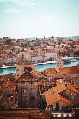 Top view of the historical buildings of the city of Trogir, Croatia.